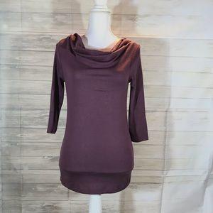 Women's XS Ann Taylor purple draped neck shirt